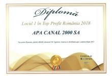 Societatea Apă Canal 2000, locul 1 în clasamente din Topul Naţional al Firmelor,  în domeniul specif...